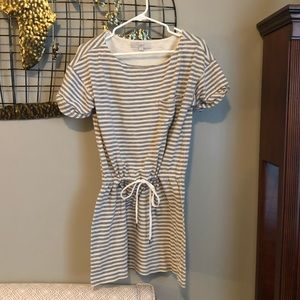 LOFT  grey and cream dress